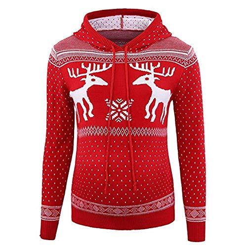Huixin Maglione di Natale per Le Donne maternità Pullover Costume Renna con Cappuccio A Maglia Top Natale Autunno Inverno Caldo Festive Eleganti Felpe con Cappuccio (Color : Rot, Size : 2XL)