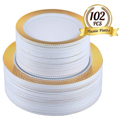 FOCUS LINE 102Pcs Disposable Plastic Plates Gold Grid Rim Party Plates,51Pcs 10.25 Inch Dinner Plates and 51Pcs 7.5 Inch Dessert Plates Elegant Fancy Heavy Duty Wedding Plates