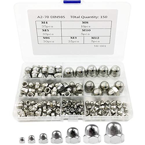 150 Stück Sechskant-Sicherungsmuttern aus Edelstahl mit Eichel-Kuppelkopf, Sechskantmuttern, Hutmuttern, Sortimentsset M3 M4 M5 M6 M8 M10 M12 (150-teiliges Set).