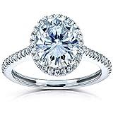 Kobelli Forever One Oval Moissanite Halo Engagement Ring 2 1/4 CTW 14k White Gold (DEF/VS, GH/I), 7