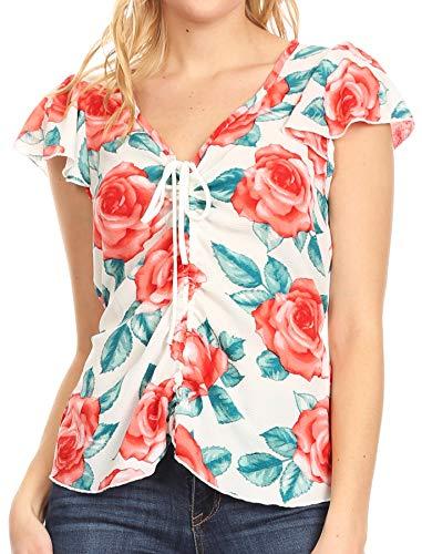 Sakkas 8917 - AIN - Camiseta de Manga Corta con Cuello en v para Mujer, con Cuello Redondo, Blusa con Corbatas - Blanco - M