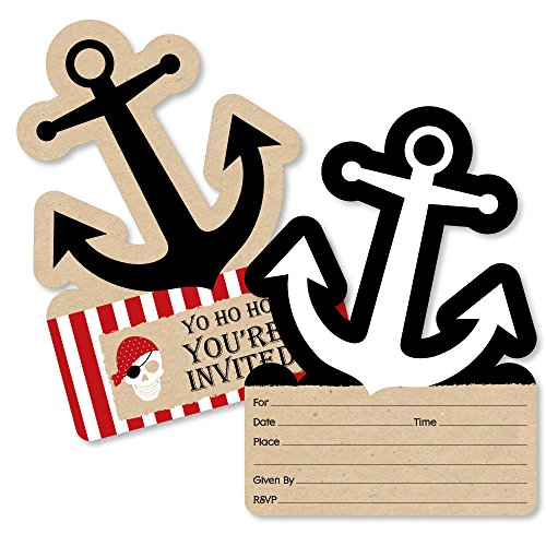 Pirate Birthday Party Invitation Cards with Envelopes