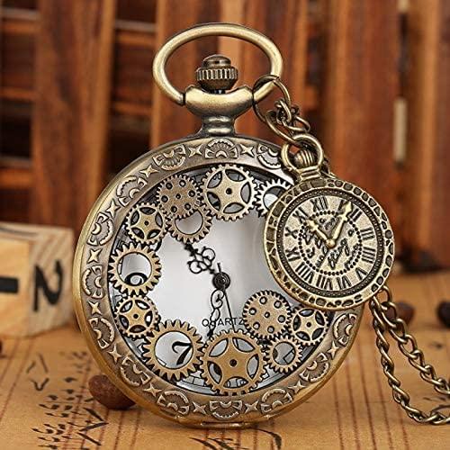 Oaisij Pioneer Vintage Vintage Steam Punk Punk Ring Gear Stone Circle Table Necklace Colgante Reloj Cadena Hombres y Sra