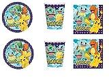 Party Store web by casa dolce casa Pokemon Pikachu Coordinato ADDOBBI TAVOLA Festa Pokemon- Kit n°11 CDC-(8 Piatti,8 Bicchieri,16 TOVAGLIOLI)