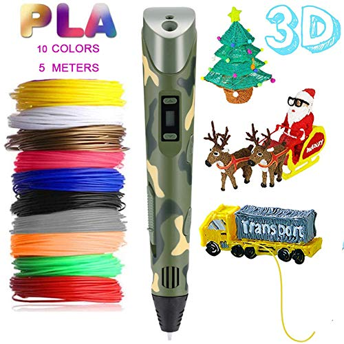 Skiout 3D Printing Pen with LCD Display Intelligent 3D Drawing pen with 10 Colors Filament PLA Adjustable Speed 3d Doodler pen for Kids & Adults Holiday Christmas Toys/Gifts for Kids,Camouflage