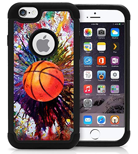 OptiCase iPhone 6 / iPhone 6S Case - Vintage Basketball Splatter Hybrid Shockproof Unique Case with Great Protection