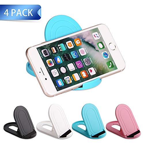 Cell Phone Stand, 4Pack Portable Foldable Cellphone Holder for Desk Accessories Mobile Adjustable Dock Desktop Stands Kickstand for tablet iPad Mini iPhone Office Supplies Black White Pink Blue
