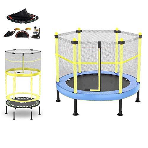 JY&WIN Cama elástica para niños para el jardín con Red de Seguridad, Tabla de Ejercicios Plegable para niños al Aire Libre para Jugar y Entrenar en Interiores o Exteriores, Acolchado de Resorte/m