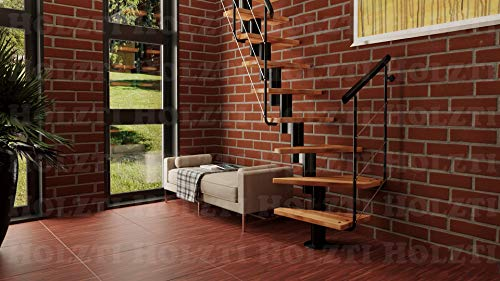 Holzti Maxi Plus – Escaleras modulares modernas, estructura de metal con escalones de madera maciza, escaleras para el hogar (Tabaco de Aliso)