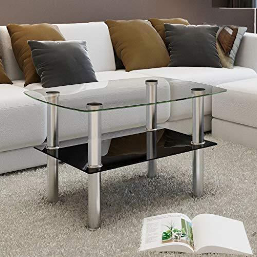 Salontafel met 2 glazen planken, afstand tussen tafel en plank, 20,5 cm, salontafel, design Totale afmetingen 65 x 45 x 43 cm (L x B x H)
