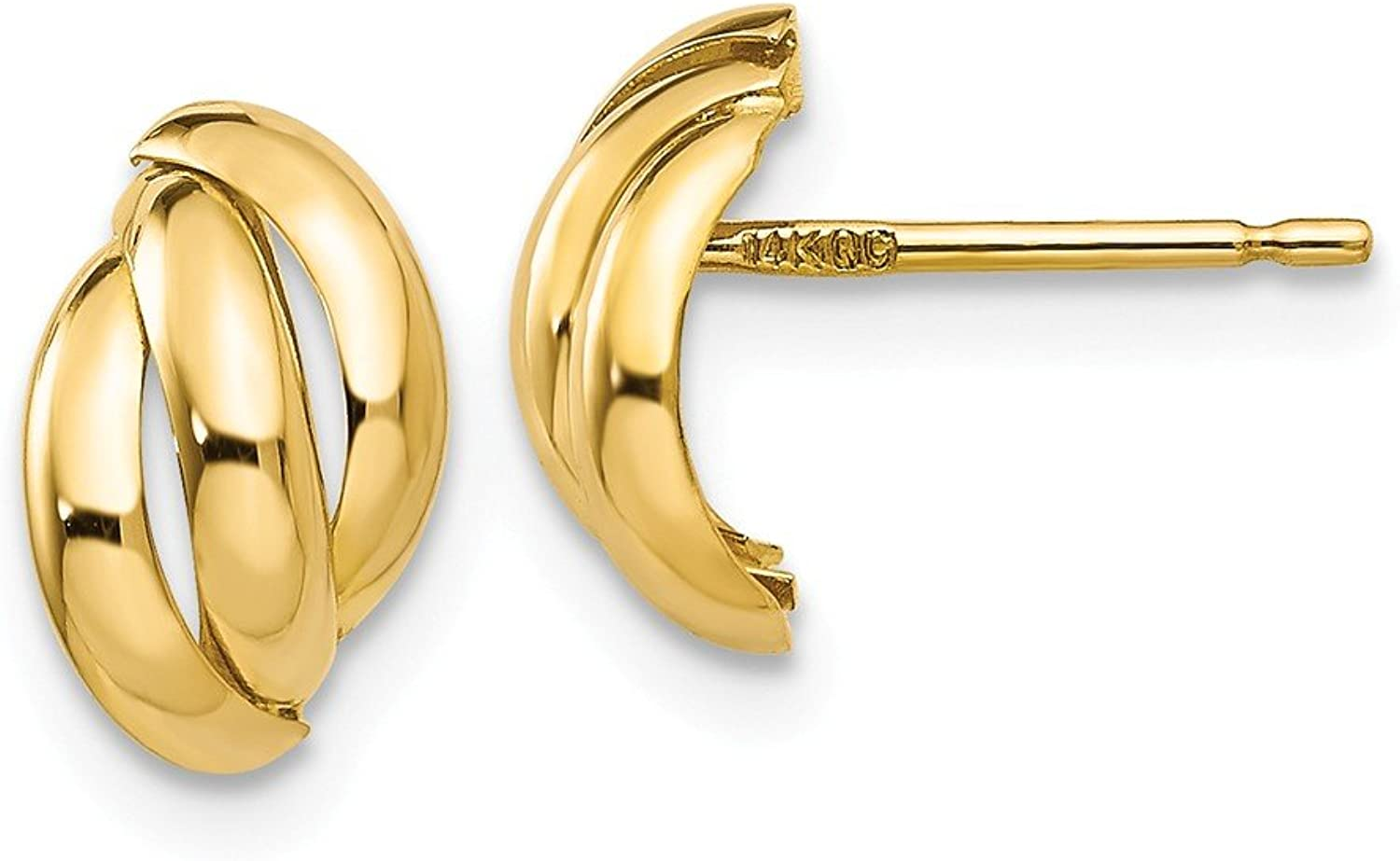 Beautiful Yellow gold 14K Yellowgold 14k Polished Fancy Post Earrings
