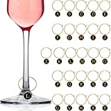 26 Pieces Wine Glass Charms with Rings Tags Metal Letters Glass Charm Markers Letters Beads Markers for Stem Glasses Wine Cocktail Champagne Party Favors Decorations Family Gathering