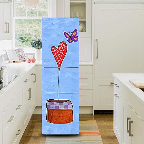 Ruifulex Adesivi Frigo Frigorifero Vintage Decalcomanie Autoadesive, Refrigeratordoor Sticker Professional Vinile Wallpaper Upgrade, Cuore E Farfalla 60x180cm