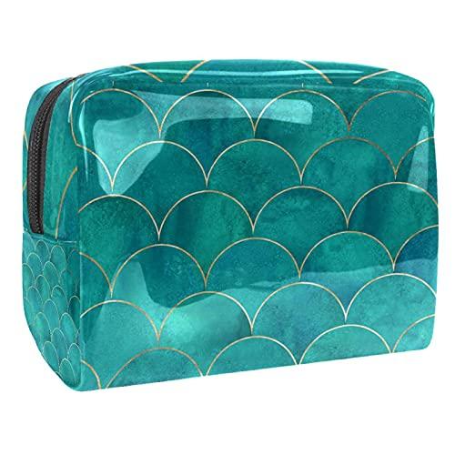 Bolsa cosmética de PVC gris, bolsa de viaje cosmética con cremallera de moda, organizador de maquillaje para niñas y mujeres, Fish Scale Wavemermaid Turquoise, 18.5x7.5x13cm/7.3x3x5.1in,