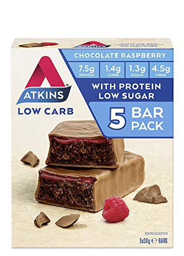 Atkins Chocolate Raspberry Bars | Keto Friendly Bars | 5 x 30g Low Carb Chocolate Bars | Low carb, Low Sugar, High Protein, High Fibre | 5 Bar Pack