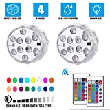 BONBON Submersible LED Lights with Remote-Battery Operated Puck Lights Controlled 16 Color Changing Wireless Waterproof...
