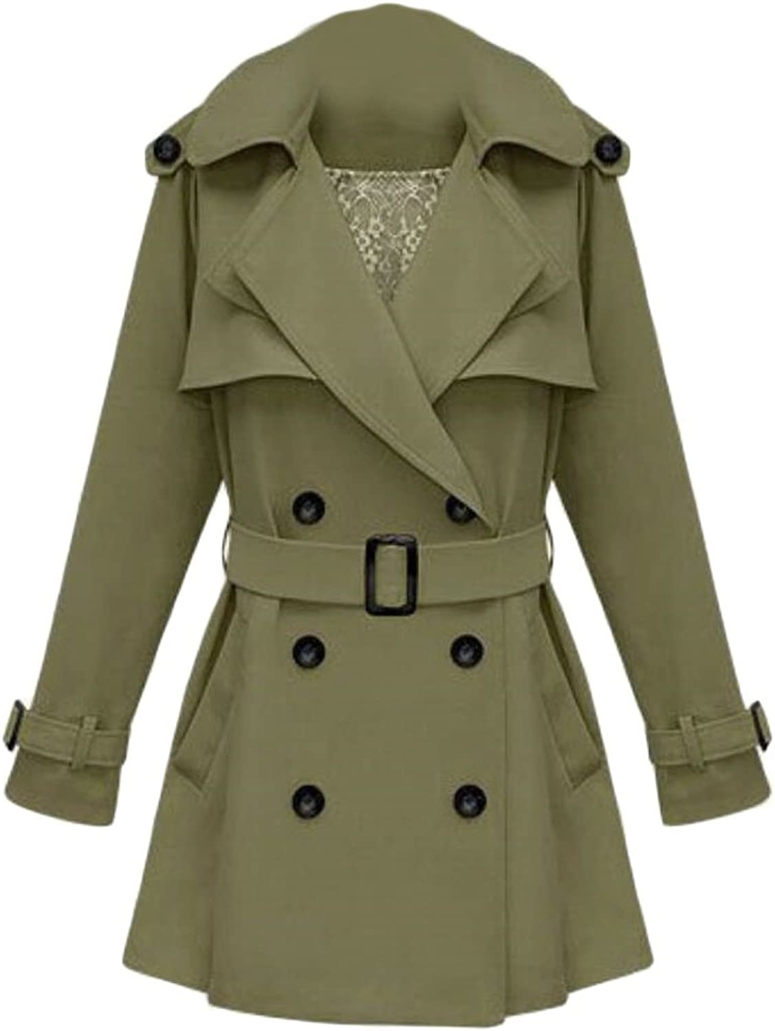 GAGA Women's Notched Lapel Double Breasted Solid color A Line Trench Coat with Belt