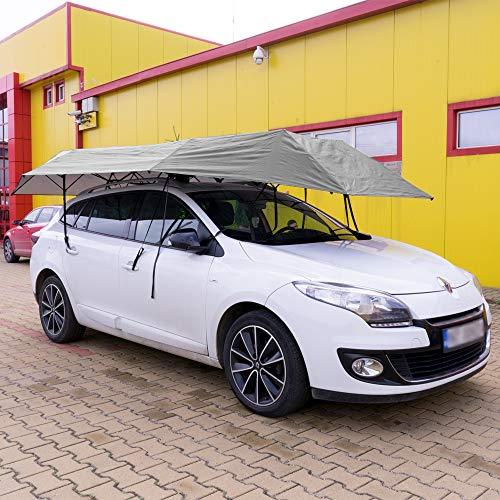 PNI Ombrello per Auto SilverShade One, con Inizio Telecomando, 4600x2300mm, Impermeabile, Resistente ai Raggi UV, Batteria Integrata, Grigio