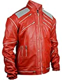 Dizller MJ Biker Leather Jackets Costumes Celebrity Jackets (MJ Beat it - Red, XL (46' - 47'))