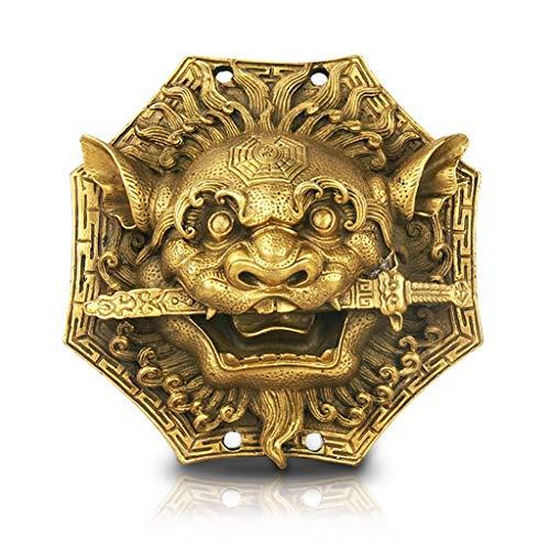 WYZQ Estatuto de Buda Decoración para el hogar Espejo Bagua Feng Shui Cobre León Mordida Espada Gossip Espejo Cabeza de Animal Hogar Hermosos Adornos Colgante Feng Shui Decoración Buda Decoración