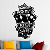 guijiumai Poker King Patrón Creativo Pegatinas de Pared para Casa de Juego Fondo Arte Decoración Vinilo Tatuajes de Pared Casino Sala de Estar 74X101CM