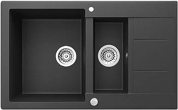"""Bergström Granieten gootsteen """"Tesa"""" incl. sifon keukenaanrecht inbouwspoelbak (800x500mm, zwart)"""
