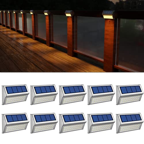 ROSHWEY Deck Lights Outdoor 10 Pack 30 LED Stainless Steel Solar Powered Outdoor Lights Waterproof Security Lights for Stairs Patio Fence Backyard, Warm White Light