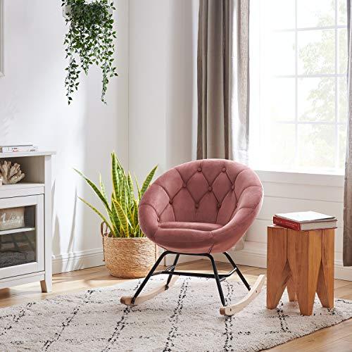 Volans Mid Century Modern Round Back Velvet Tufted Upholstered Rocking Chair Padded Seat for Living Room Bedroom, Pink