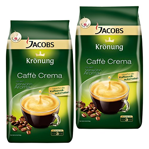 Jacobs Krönung Caffè Crema, 2er Set, Röstkaffee, Kaffee, ganze Bohnen, Kaffeebohnen, 2 x 1000 g