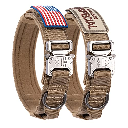 Tactical Dog Collar with USA American Flag - Military Dog Collar Thick with Handle - Heavy Duty Nylon K9 Adjustable Metal Buckle for Medium Large Dogs M L XL Chew Proof with 2 Patches Black