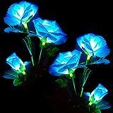(Paquete de 2) Luces solares de jardín con flor de rosa, rosa azul decorativa impermeable con energía solar, 8 modos de iluminación para el hogar y el jardín