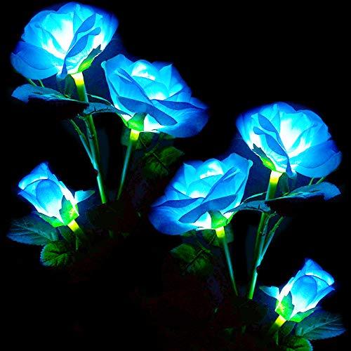 (Paquete de 2) Luces solares de jardín con flor de rosa, ro