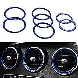Comyglog 7 piezas de decoración para el aire acondicionado del coche, para Mercedes Clase C W205 Glc 180 200 260 (azul)