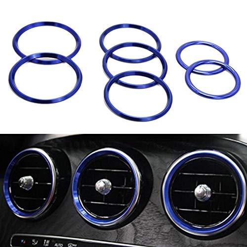 Fltaheroo 7Pc Auto Styling Ac Outlet Ring Dekoration Klimaanlage Belüftungs?ffnungen Ordnen Aufkleber Abdeckung für Mercedes C Klasse W205 Glc 180 200 260(Blau)