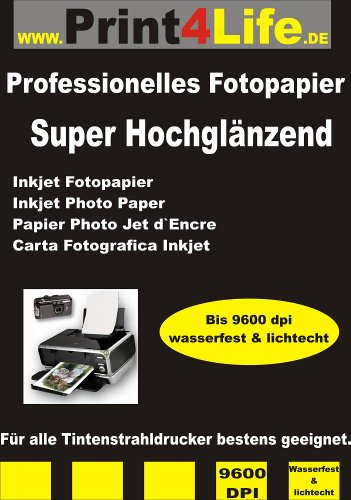 100 Hojas A3 Brillante Cara Papel fotográfico 260g /m² - instantánea Seca - Profesional de Alta resolución de inyección de Tinta