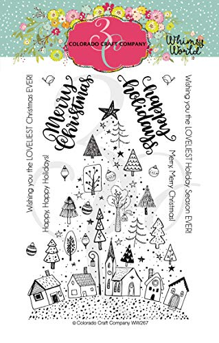 Colorado Craft Company Clear Stamps 4'X6'-Christmas Town Tree-Whimsy World