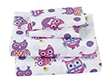 Fancy Collection 4pc Full Size Sheet Set Owl White Purple Pink Yellow Blue Green New