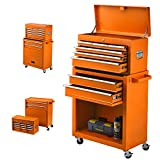 High Capacity Rolling Tool Chest, 8 Drawer Tool Box Tool Cabinet, Removable Tool Chest with Wheels, Tool Storage for Garage and Warehouse, Tool Organizer with Lockable Drawers (Orange)