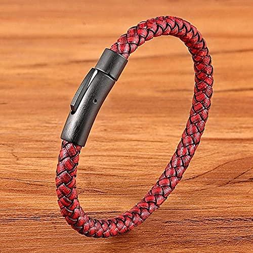 LIjiMY Pulsera de Cuero de los Hombres de Estilo clásico Simple Botón de Acero Inoxidable Negro Accesorios neutros LOS Regalos DE JOYERÍA Mano (Color : Red, Size : 23cm)