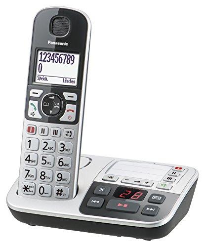 Panasonic KX-TGE520GS Seniorentelefon mit Anrufbeantworter, Notruftaste, Großtastentelefon, schnurlos, schwarz-silber