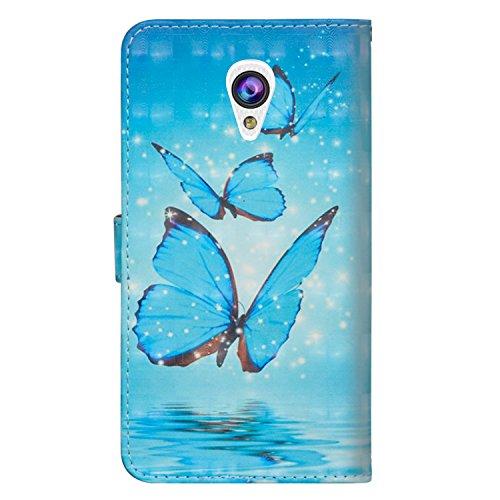 sinogoods Für Alcatel U5 3G / 4047D / 4047 Hülle, Premium PU Leder Schutztasche Klappetui Brieftasche Handyhülle, Standfunktion Flip Wallet Case Cover - DREI Schmetterlinge