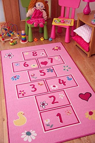 Colourful Bright Pink Playtime Girls 2'7 Super sale period Under blast sales limited Kids Play Rug Hopscotch