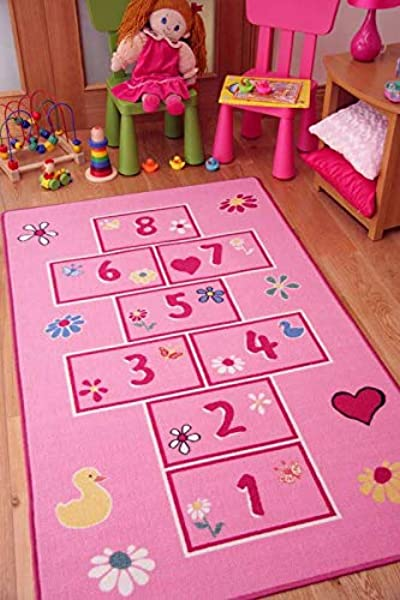 Colourful Bright Pink Playtime Girls Hopscotch Kids Play Rug 2 7 X 4 11