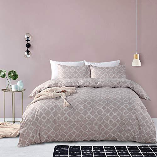 Chanyuan - Juego de ropa de cama (135 x 200 cm, microfibra suave, 2 piezas, con patrón de rejilla, fundas de edredón ligeras con cremallera y 1 funda de almohada de 80 x 80 cm), color beige