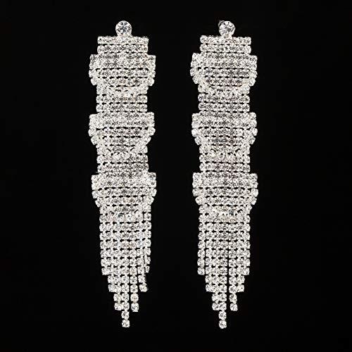 FGFDHJ Pendientes Largos de Cristal Pendientes Colgantes Plateados para Mujer