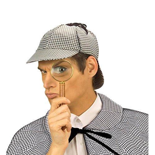 Amakando Detektiv Mütze Sherlock Holmes Kappe Agenten Kopfbedeckung Fasching Englischer Spion Schirmmütze Karierte Faschingsmütze England Mottoparty Accessoire Karneval Kostüm Zubehör