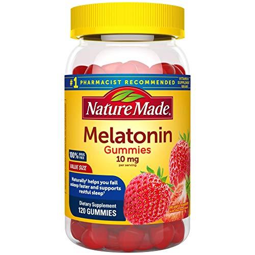 Nature Made Melatonin 10 mg Gummies of Melatonin for Supporting Restful Sleep, Strawberry 120 Count (Pack of 1)