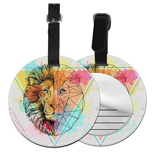 Slaytio Customizable Animal Lion Round Luggage Label Suitcase, PVC Wristband Suitcase Label
