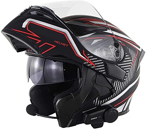 Egrus Motocicleta Bluetooth Casco Dot/Certificación ECE 6 Personas Comunicación de Motocicletas Bluetooth Flip Helmet FM Music Walkie Talkie Función A, L = 57~58 cm (Color : B, Size : 61-62CM)