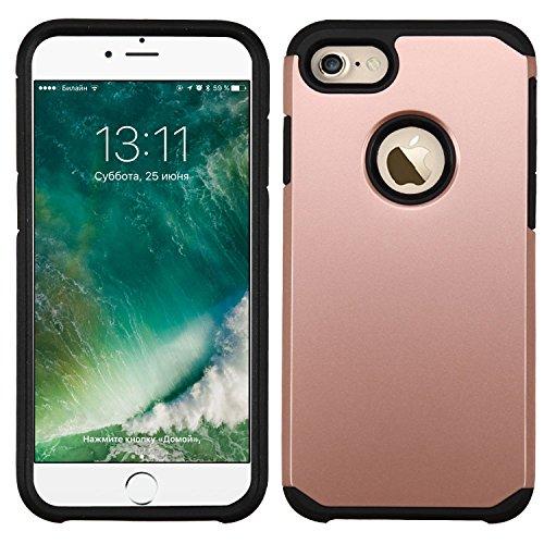 Asmyna Astronoot Teléfono Protector Cover para iPhone 7–Oro Rosa/Negro